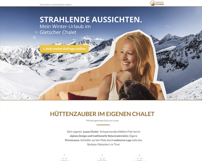 AdWords Landing Page Gletscher Chalet In Austria