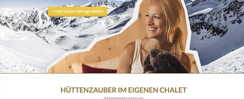 AdWords Landing Page Gletscher Chalet In Austria