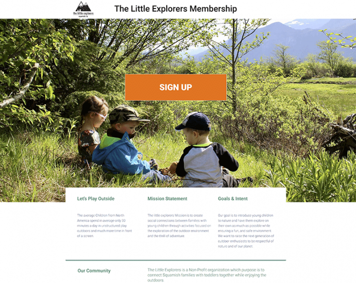 Little Explorers Sign Up Page